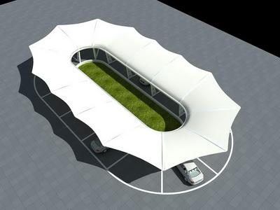 大巴车停车棚膜结构