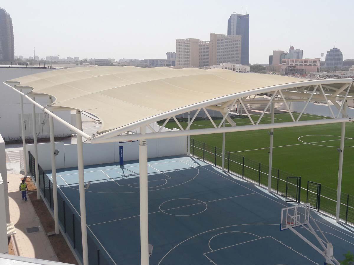 篮球场膜结构遮阳棚-室外篮球场膜结构